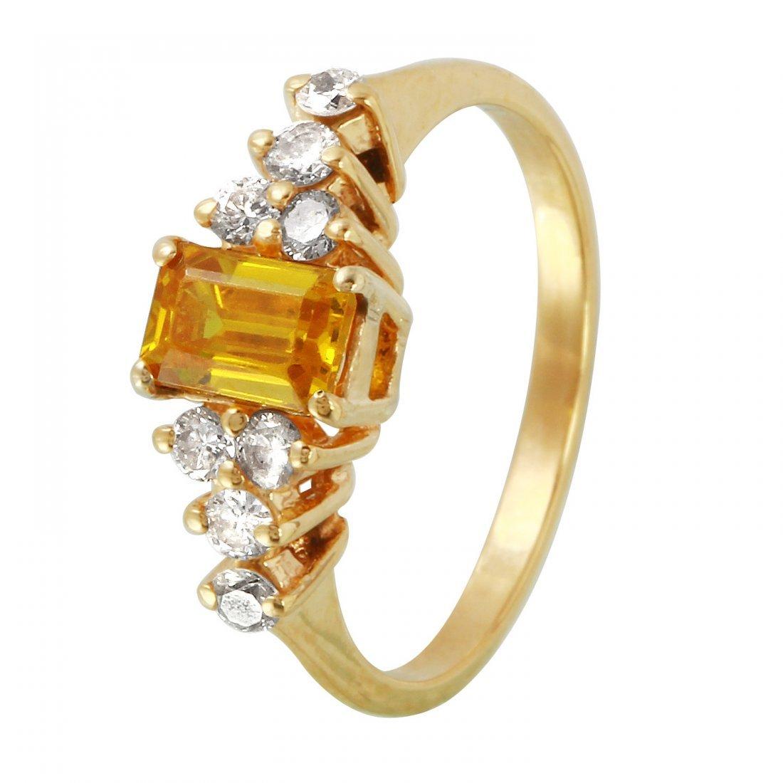 Ladies 0.86CTW Quartz And Diamond 14K Yellow Gold Ring