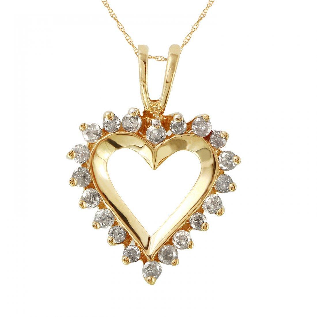 Ladies 0.5CTW Diamond 10k Yellow Gold Necklace