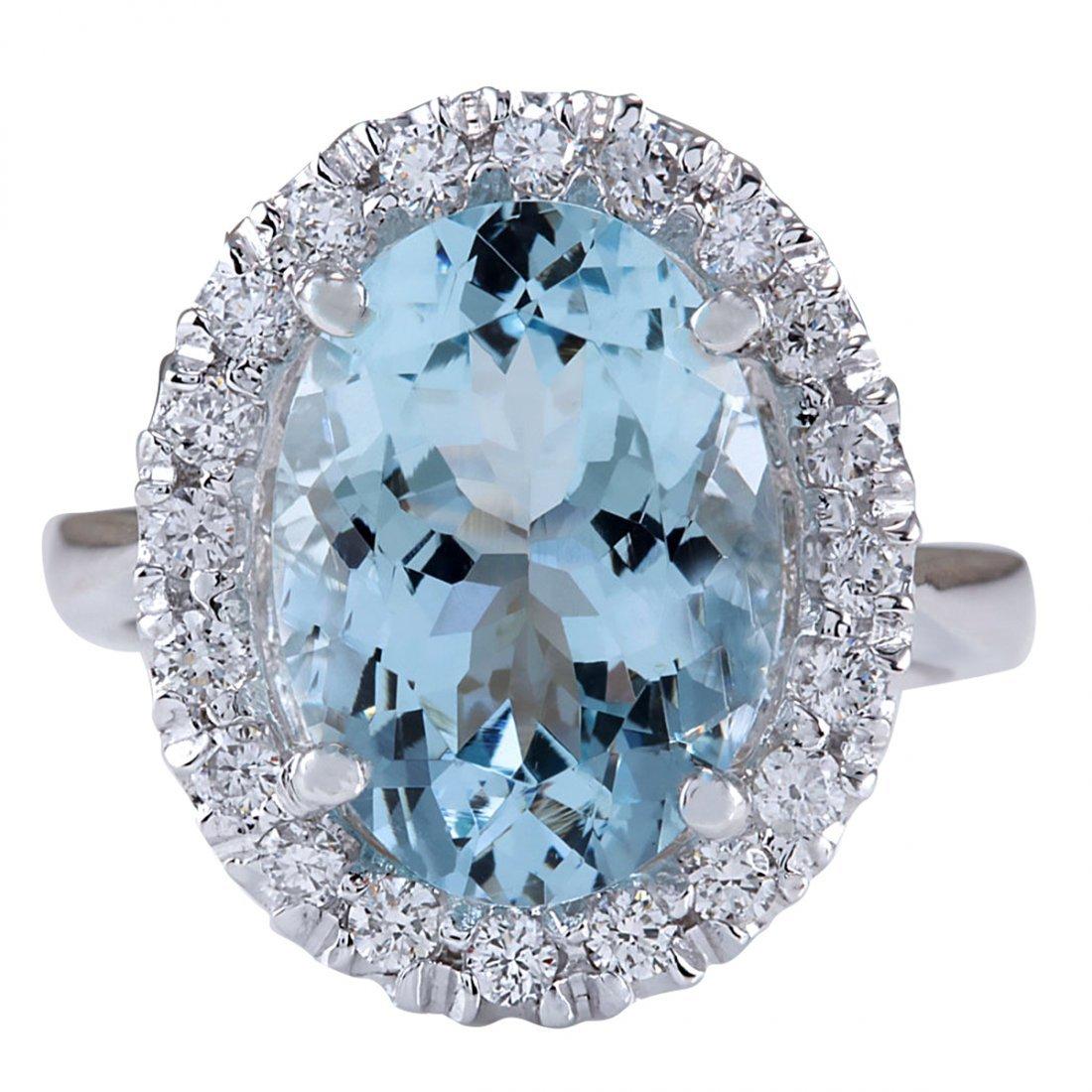 6.60CTW Natural Blue Aquamarine And Diamond Ring 14K