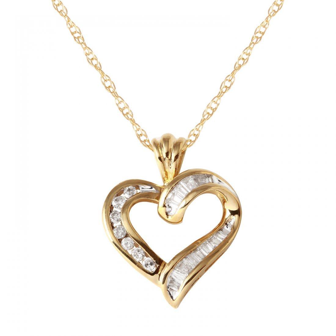 Ladies 0.27CTW Diamond 14K Yellow Gold Necklace