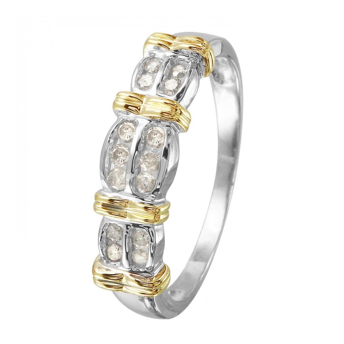 Ladies 0.25CTW Diamond 10k Two tone Gold Ring
