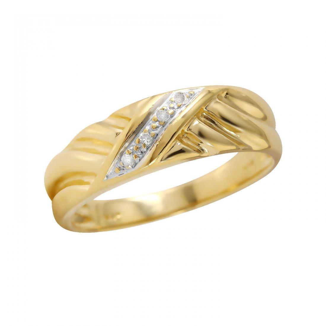 Mens 0.06CTW Diamond 14K Yellow Gold Ring