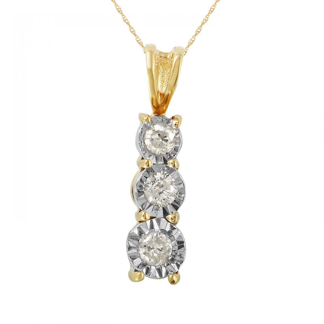 Ladies 0.33CTW Diamond 10k Yellow Gold Necklace