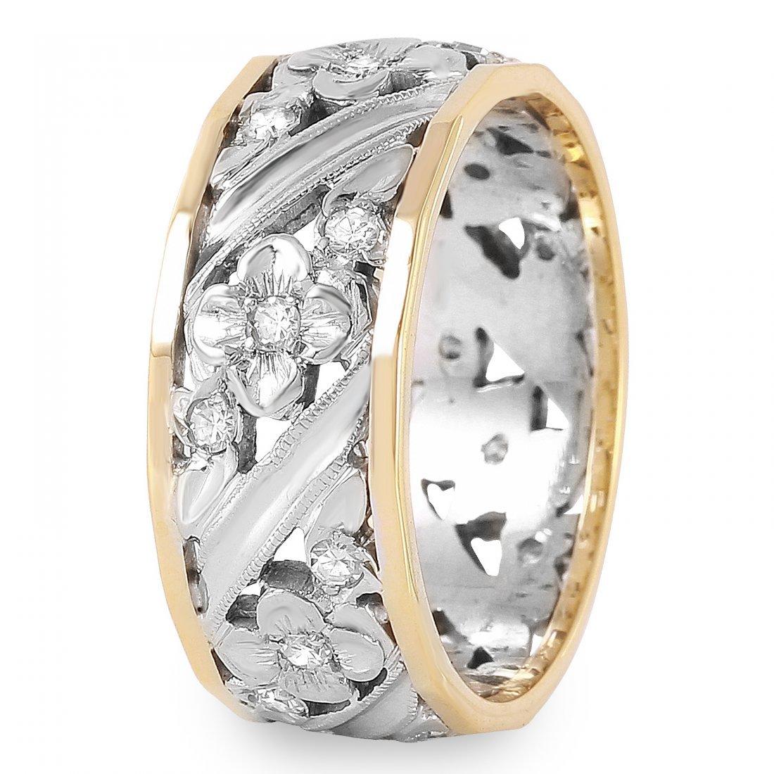 Ladies 0.36CTW Diamond 14K Two tone Gold Ring