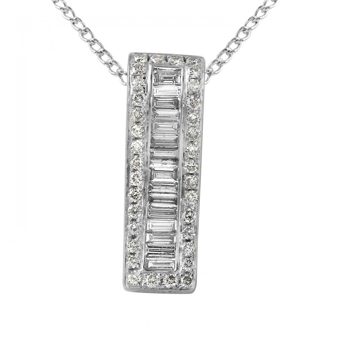 Ladies 0.73CTW Diamond 14K White Gold Necklace