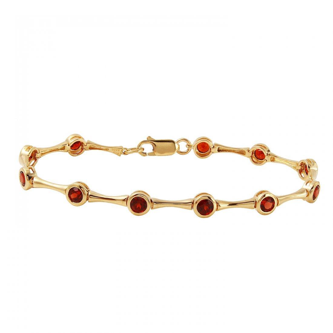 Ladies 3.63CTW Garnet  14K Yellow Gold Bracelet