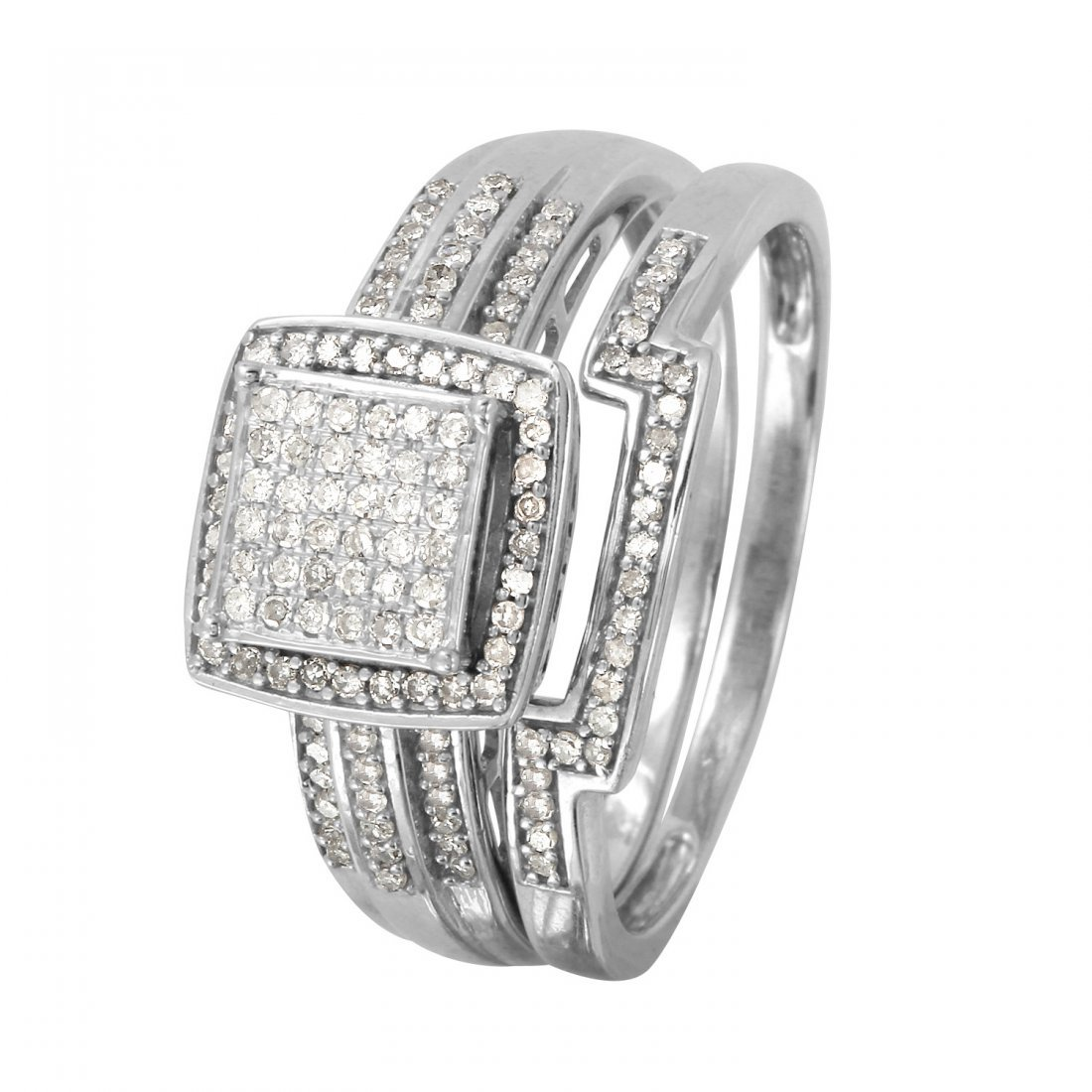 Ladies 0.38CTW Diamond 10k White Gold Ring