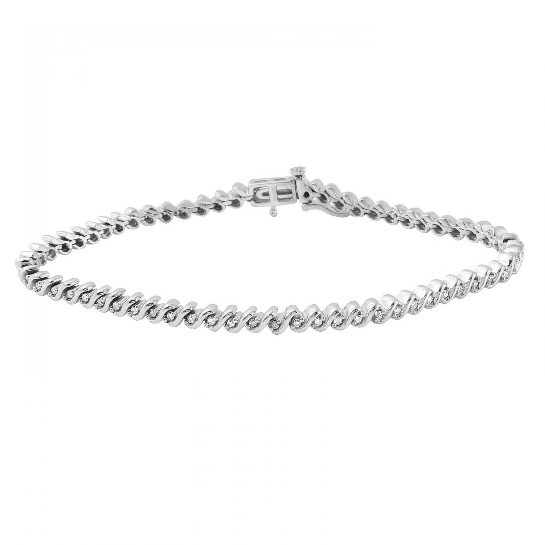 Ladies 0.48CTW Diamond 14K White Gold Bracelet