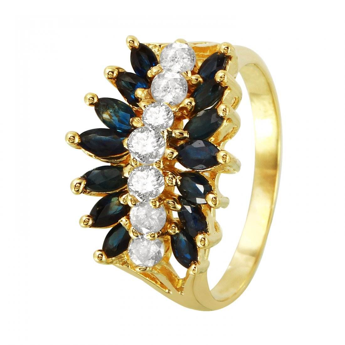 Ladies 2.18CTW Sapphire And Diamond 14K Yellow Gold