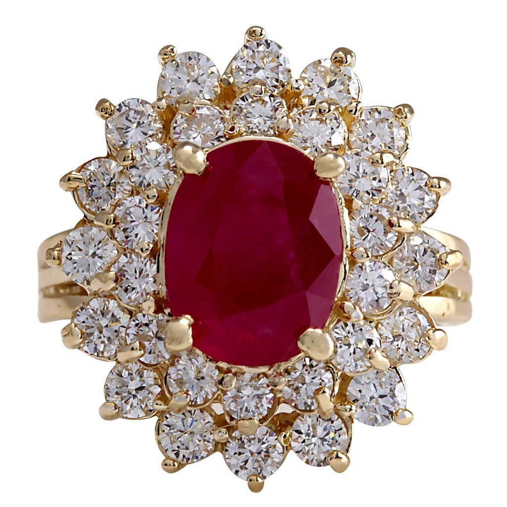 5.72CTW Natural Ruby And Diamond Ring 14K Solid Yellow