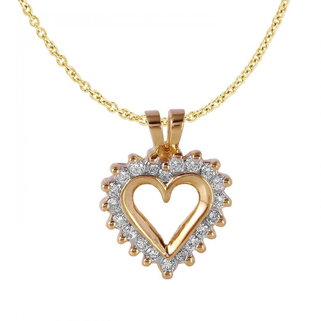Ladies 0.25CTW Diamond 10K Yellow Gold Necklace