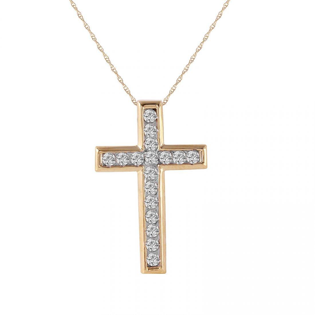 Ladies 0.7CTW Diamond 10K Yellow Gold Necklace