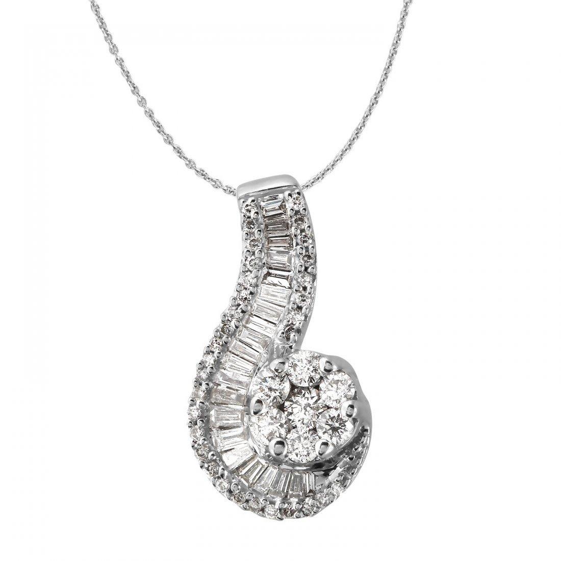 Ladies 1.29 CTW Diamond 14K White Gold Necklace