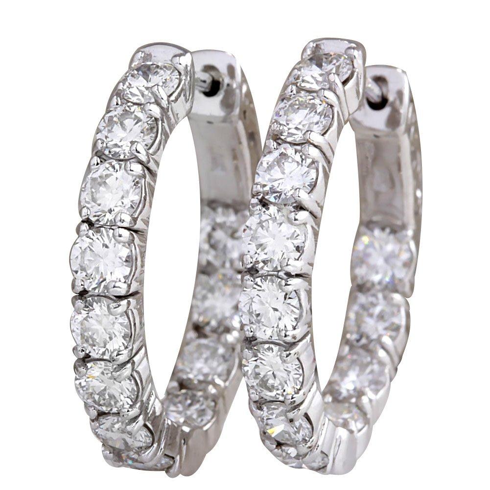 3.48CTW Natural Diamond Hoop Earrings 14K Solid White
