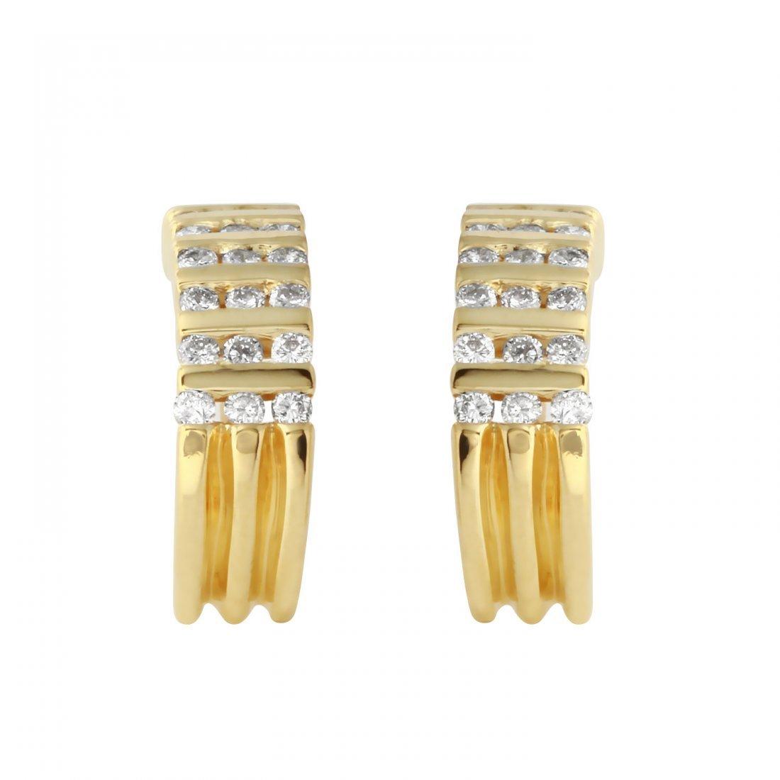Ladies 0.52CTW Diamond 14K Yellow Gold Earrings