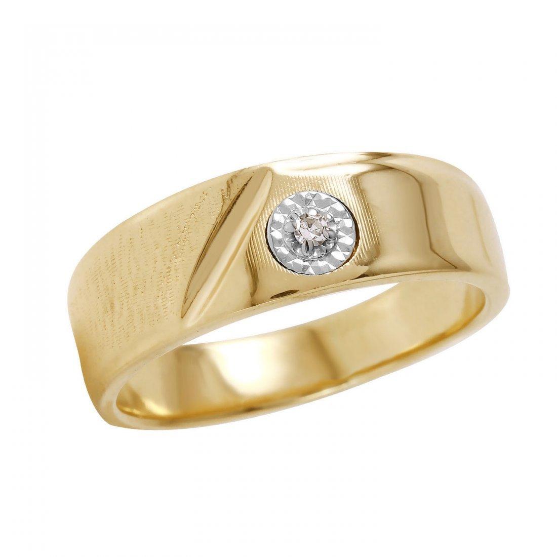 Ladies 0.02CTW Diamond 14K Yellow Gold Ring