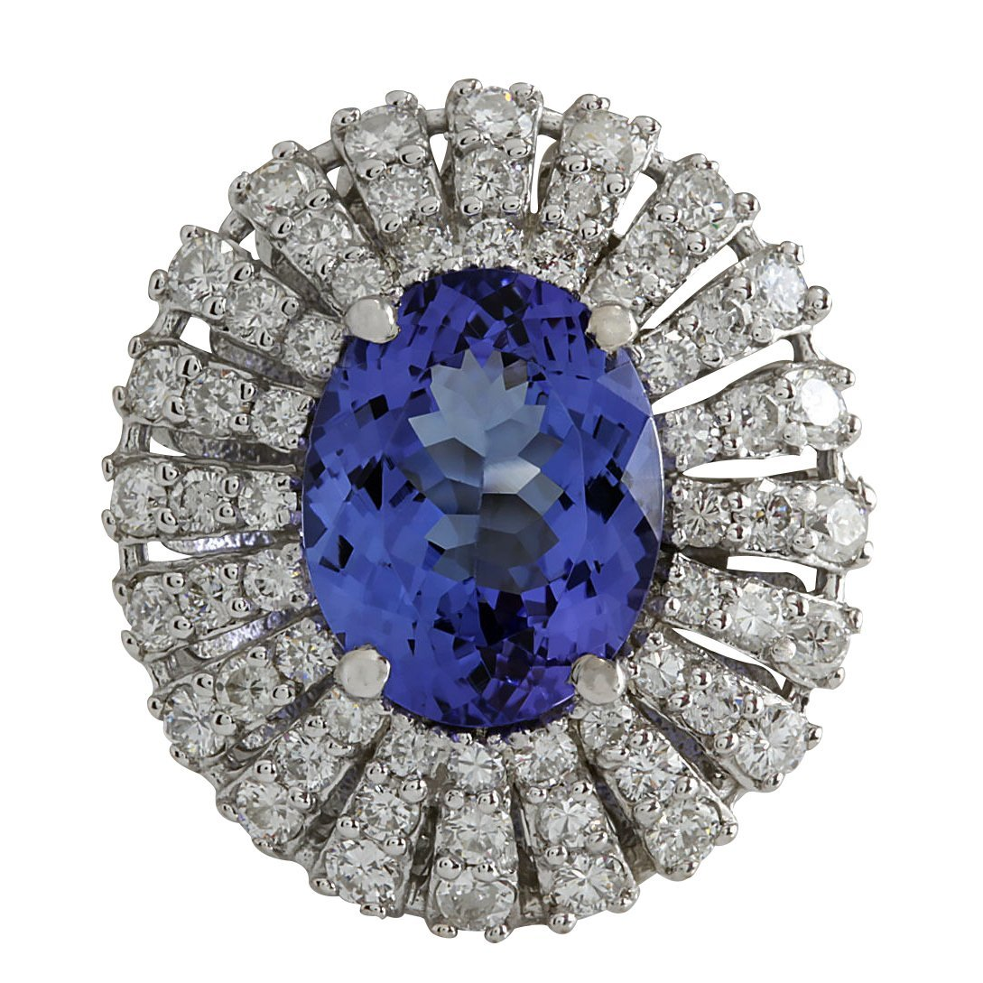 5.45CTW Natural Blue Tanzanite And Diamond Ring In 14K
