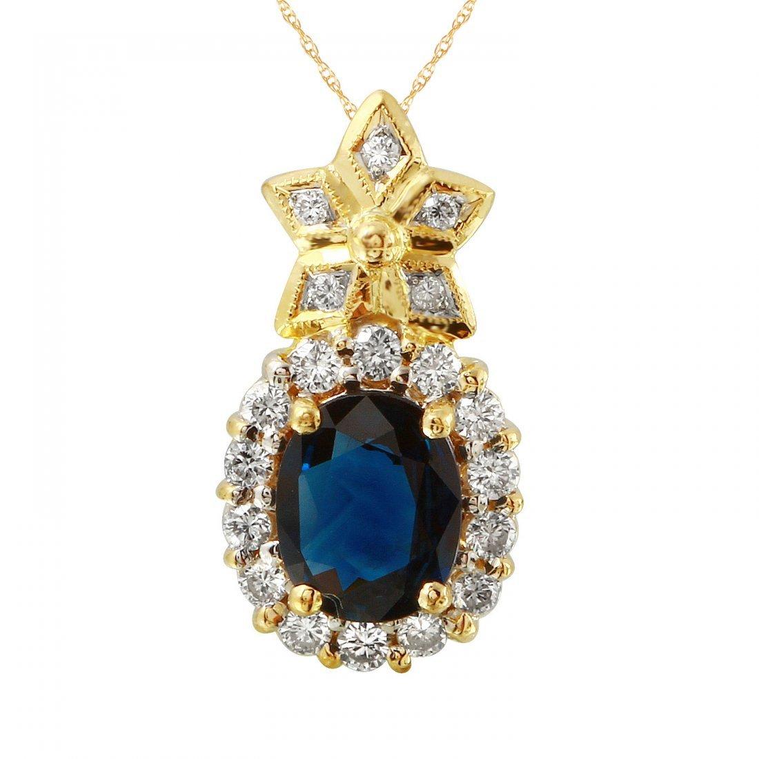 Ladies 2.05CTW Sapphire And Diamond 18k Yellow Gold