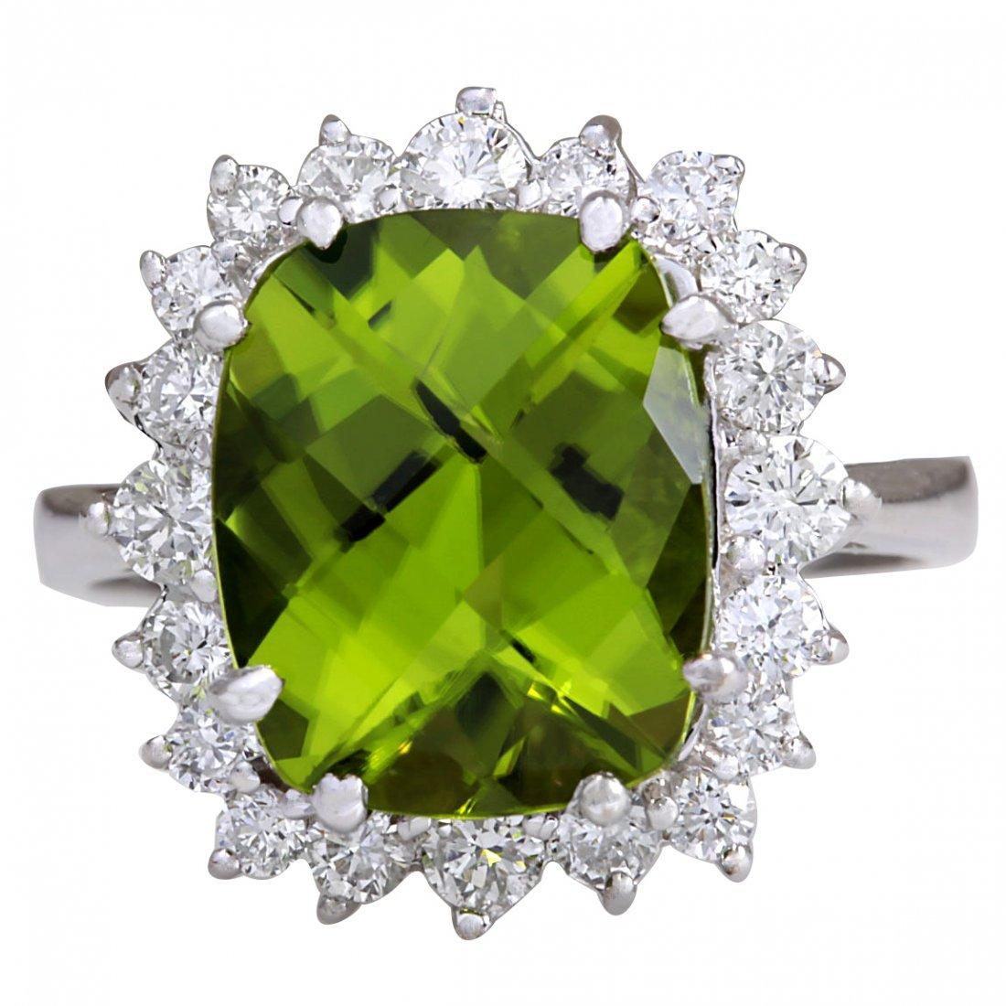 5.93CTW Natural Peridot And Diamond Ring 14K Solid