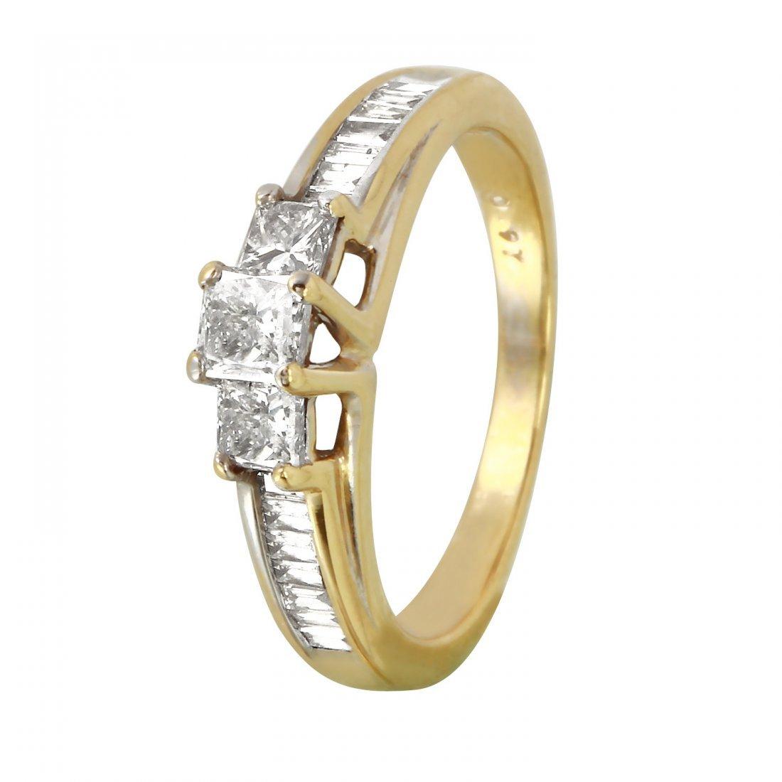 Ladies 0.97CTW Diamond 14K Two tone Gold Ring