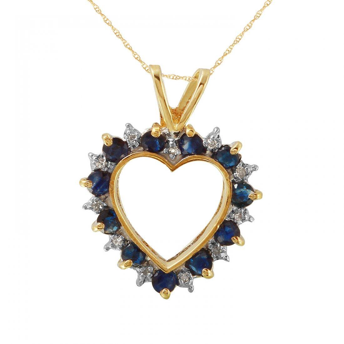 Ladies 1.04CTW Sapphire And Diamond 10k Yellow Gold