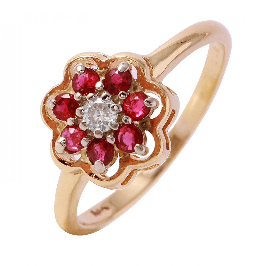 Ladies 0.42CTW Diamond And Ruby 14K Yellow Gold Ring