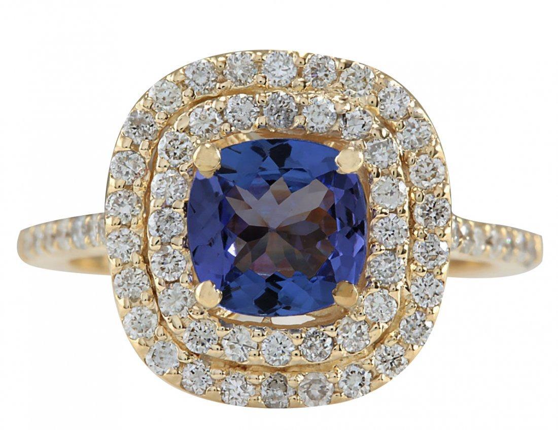 2.00CTW Natural Blue Tanzanite And Diamond Ring 14K