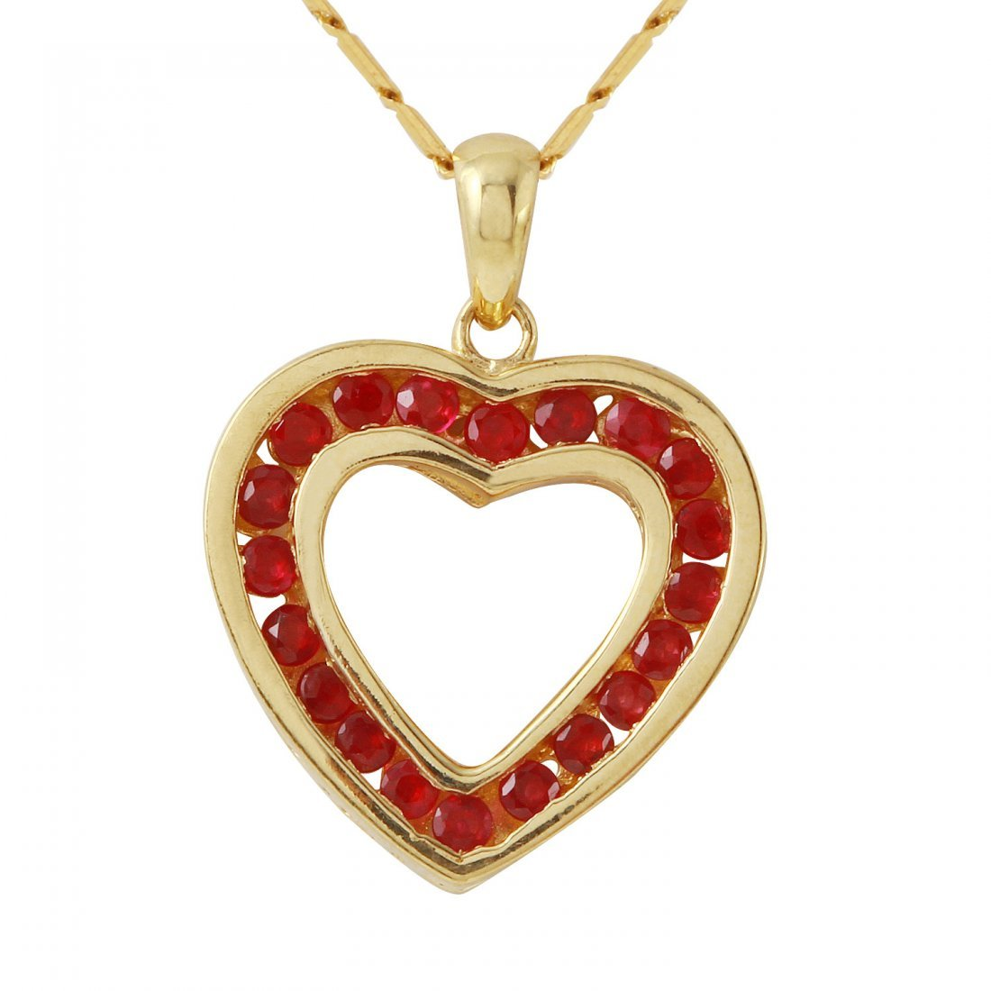 Ladies 0.65CTW Ruby 10k Yellow Gold Necklace