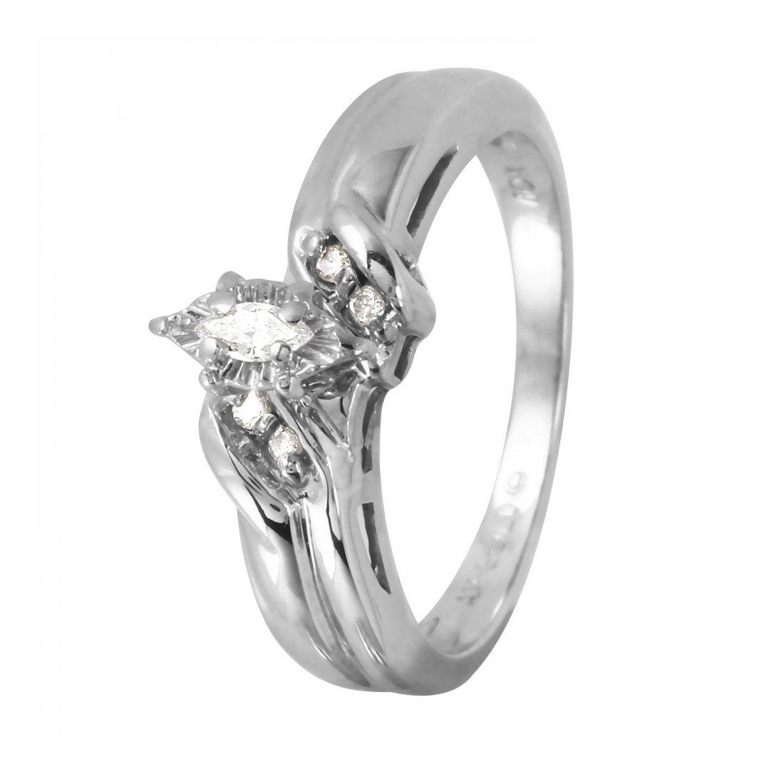 Ladies 0.12CTW Diamond 10k White Gold Ring