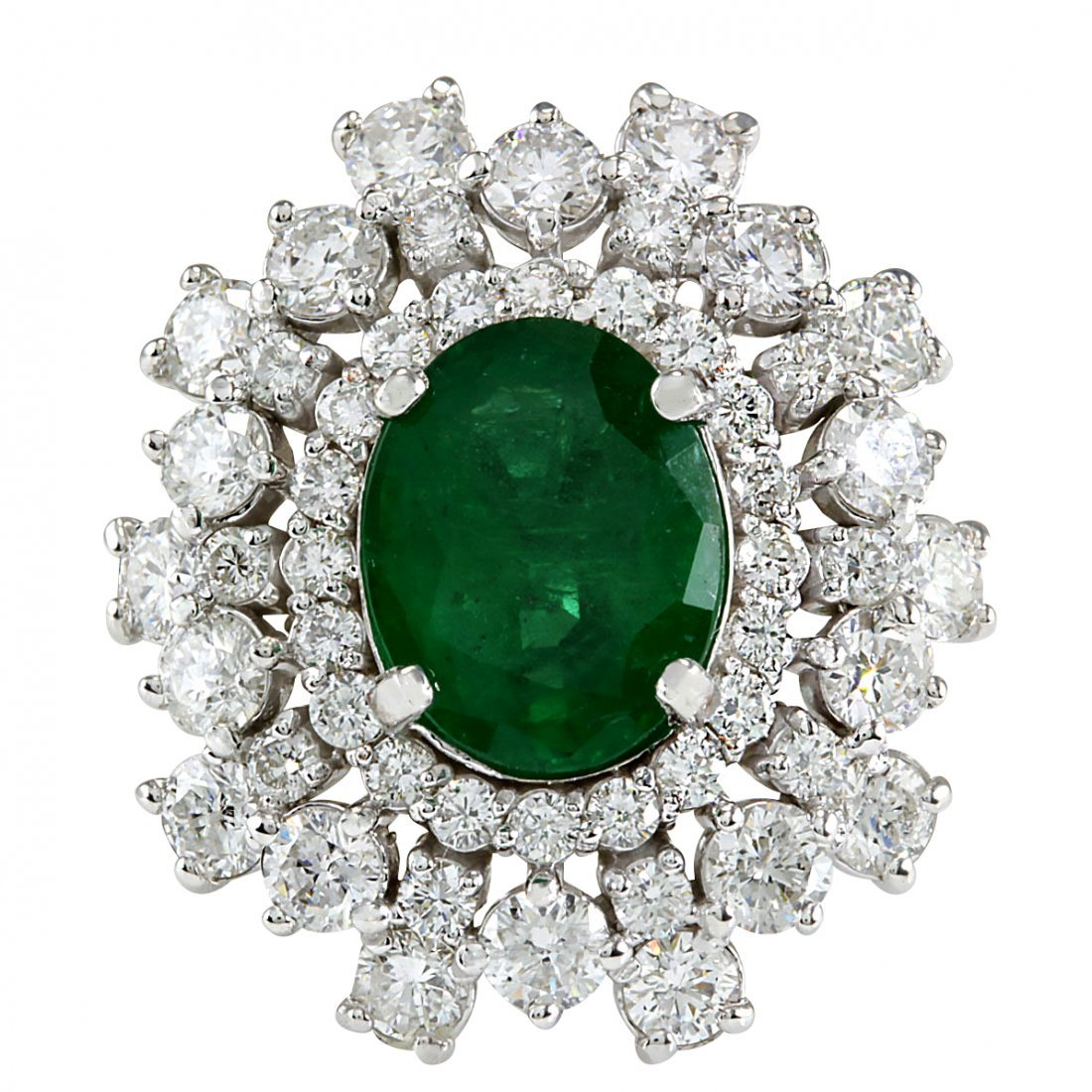 5.71CTW Natural Colombian Emerald And Diamond Ring In