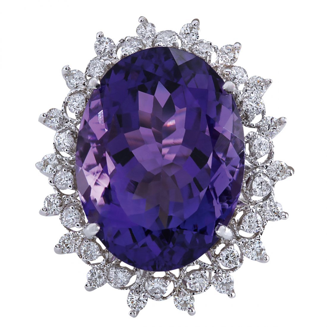 19.80CTW Natural Amethyst And Diamond Ring In 14K Solid