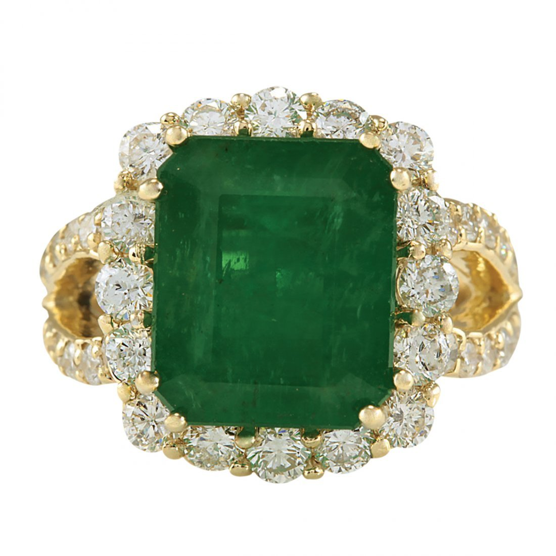 7.49CTW Natural Colombian Emerald And Diamond Ring In