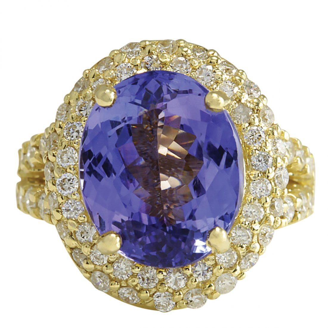 8.54CTW Natural Tanzanite And Diamond Ring In 14K