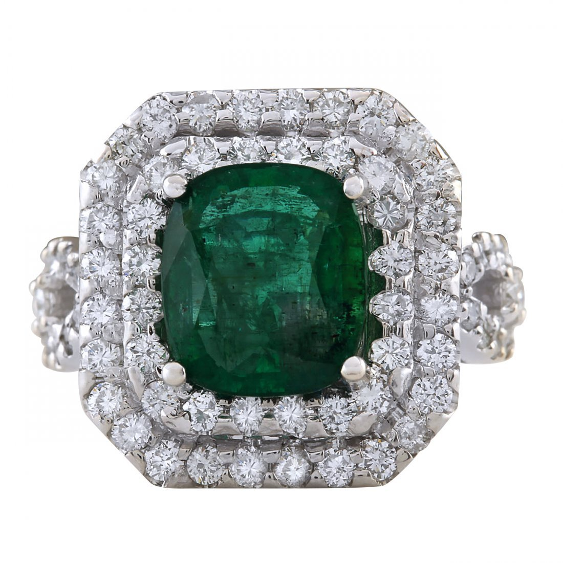 5.31CTW Natural Emerald And Diamond Ring In 14K White