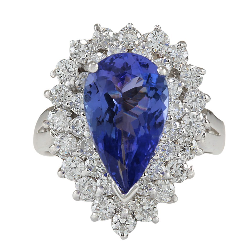 4.46CTW Natural Tanzanite And Diamond Ring In 14K White