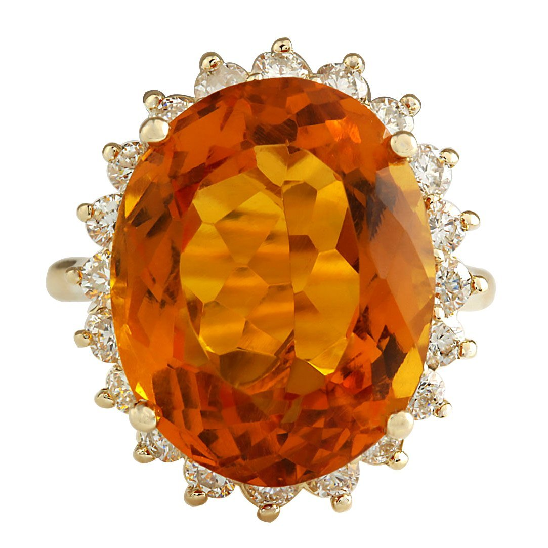 15.42CTW Natural Citrine And Diamond Ring 14K Solid