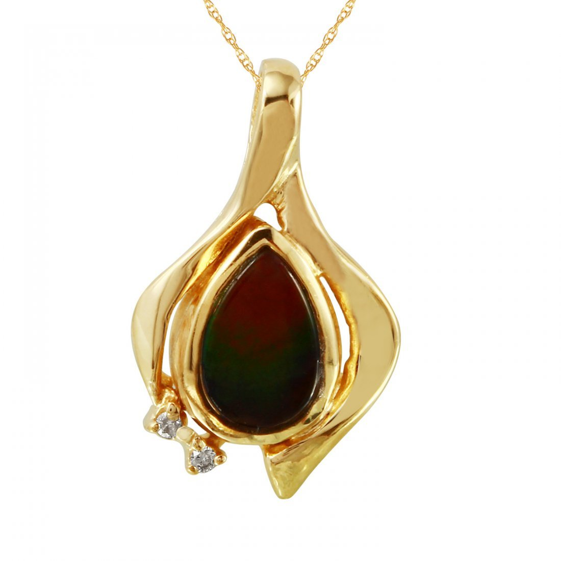 Ladies 0.72CTW Opal And Diamond 14K Yellow Gold