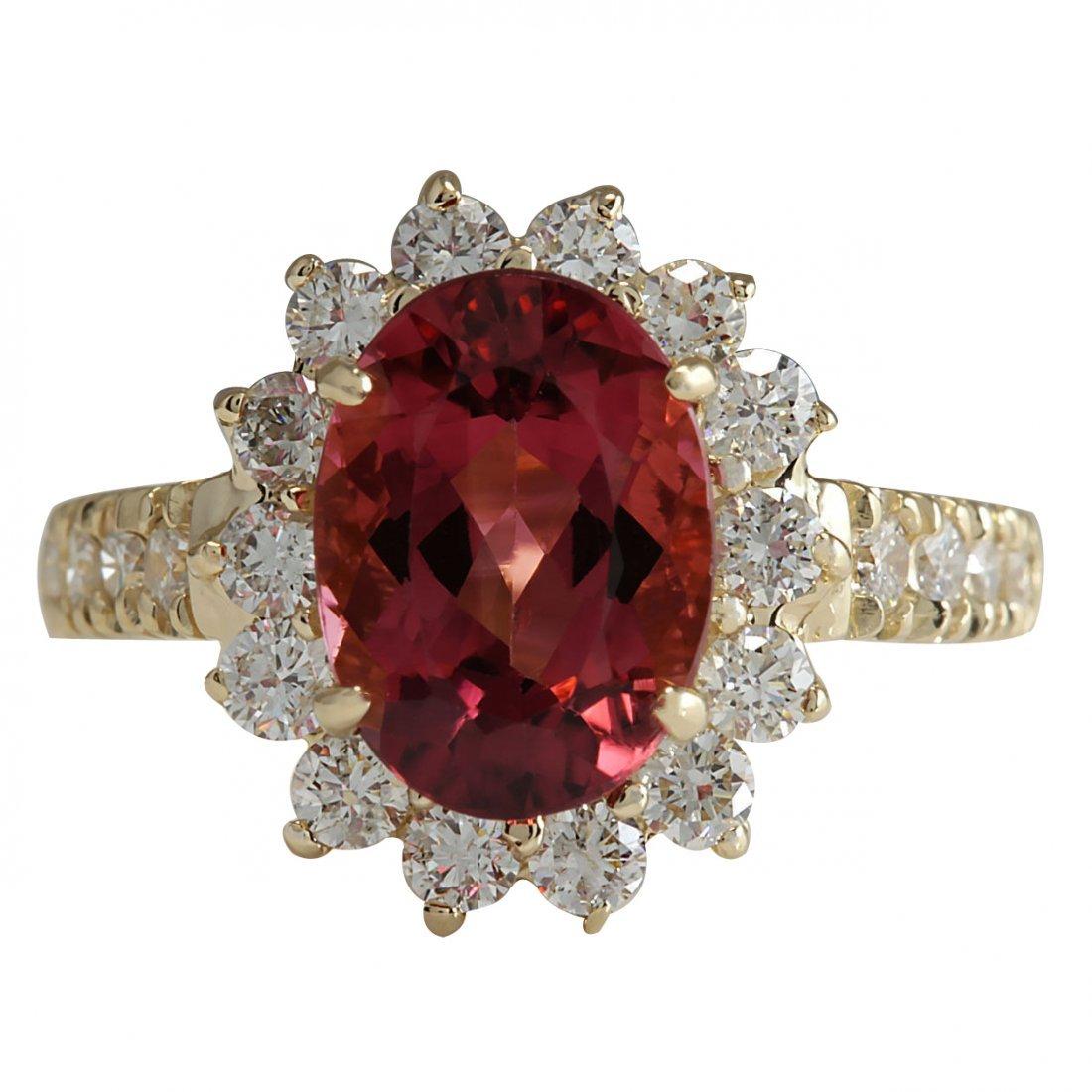 4.07CTW Natural Pink Tourmaline And Diamond Ring 14K