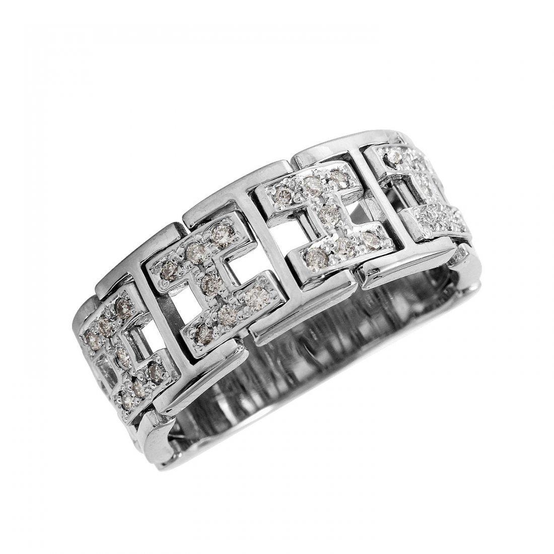 Ladies 0.42CTW Diamond 18K White Gold Ring