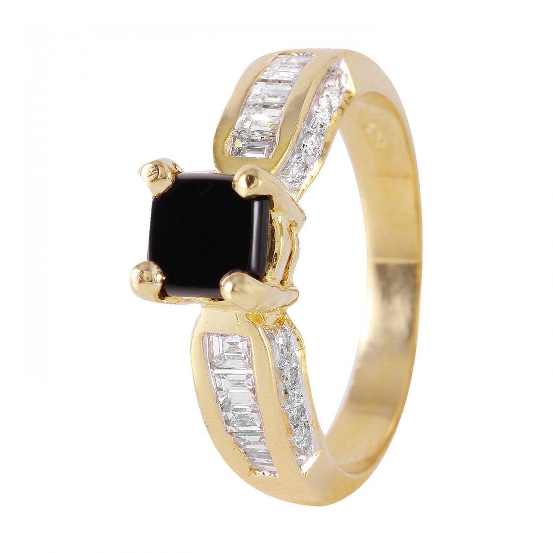 Ladies 0.78CTW Onyx And Diamond 18K Yellow Gold Ring