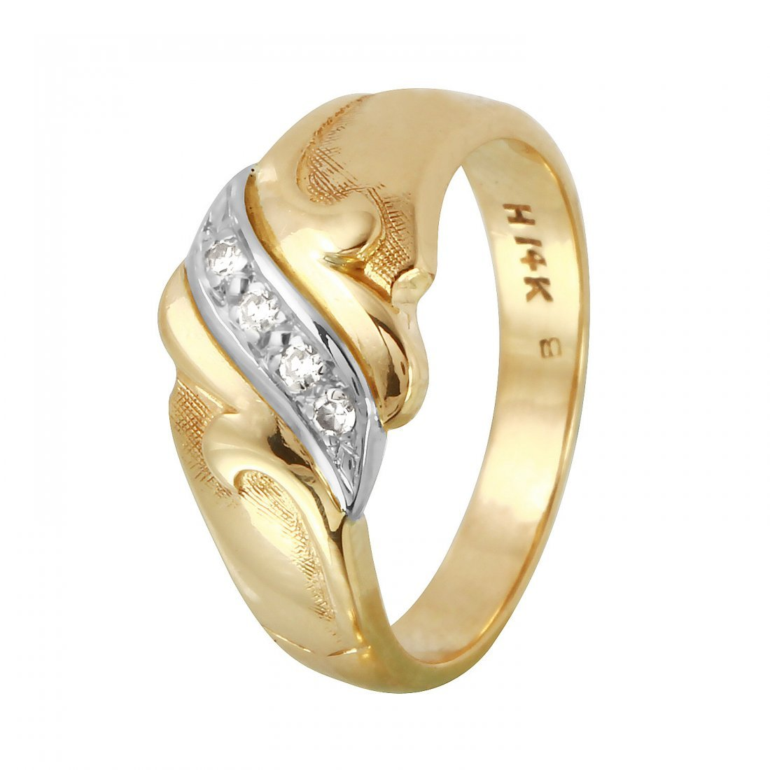 Ladies 0.06CTW Diamond 14K Yellow Gold Ring