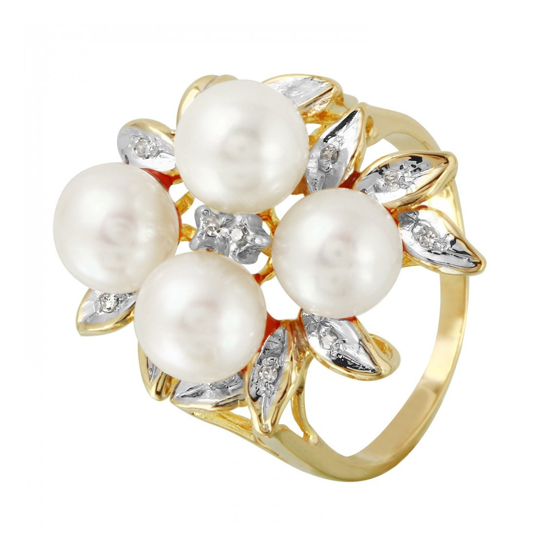 Ladies 0.06CTW Diamond And Freshwater Pearl 14K Yellow