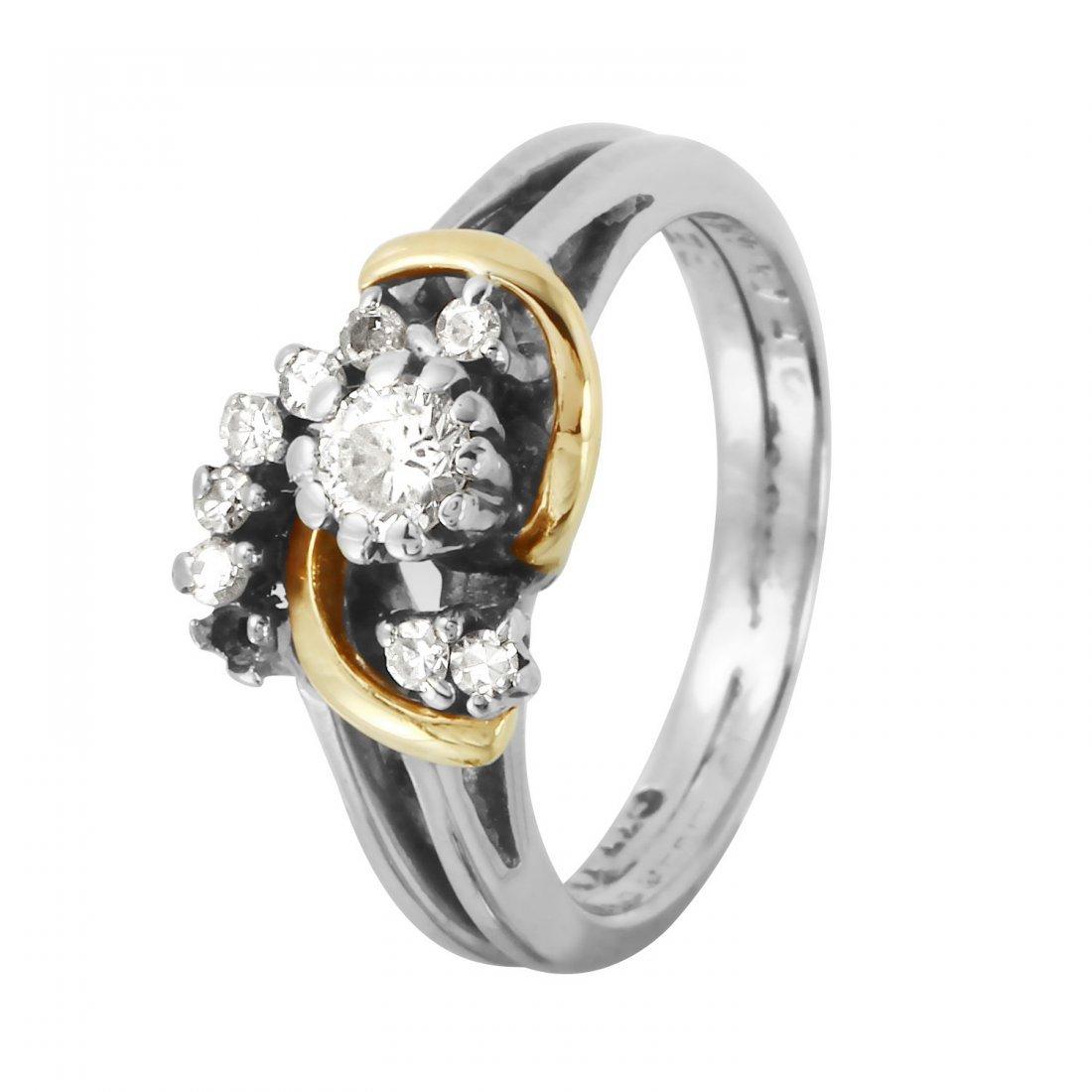 Ladies 0.31CTW Diamond 14K Two tone Gold Ring