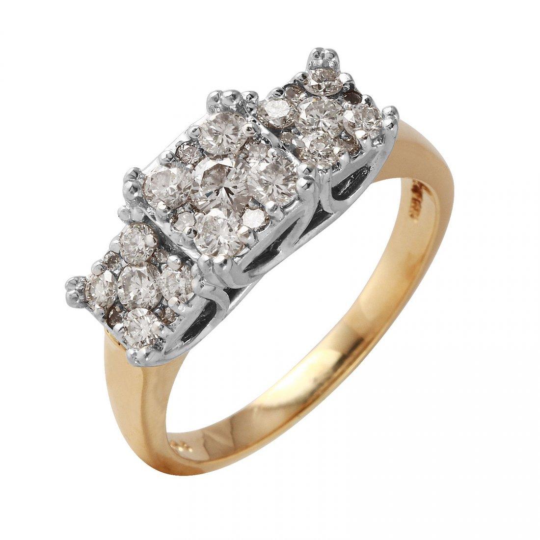 Ladies 1.5CTW Diamond 14K Two tone Gold Ring