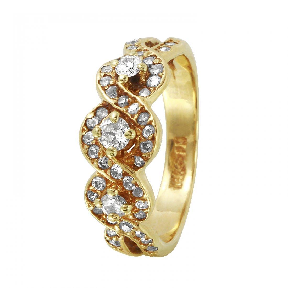 Ladies 0.76CTW Diamond 14K Yellow Gold Ring