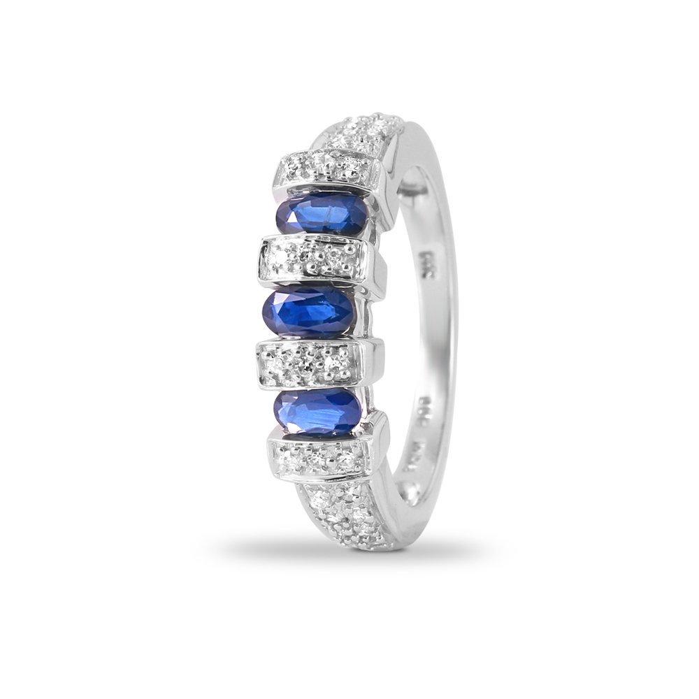 Ladies 1.32CTW Sapphire And Diamond 14K White Gold Ring