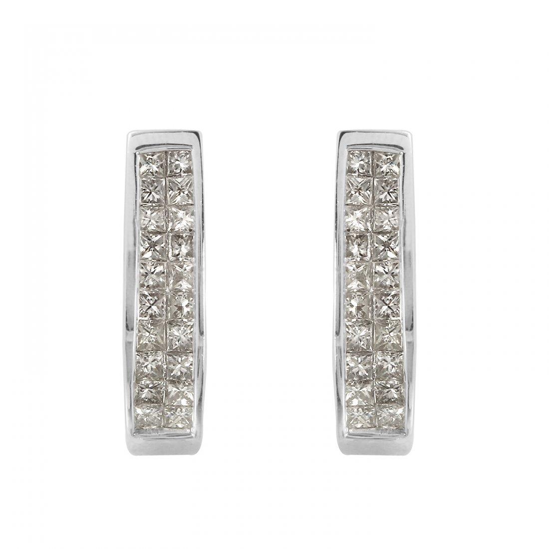 Ladies 1CTW Diamond 14K White Gold Earrings