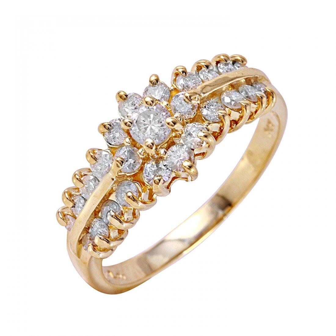 Ladies 1CTW Diamond 14K Yellow Gold Ring