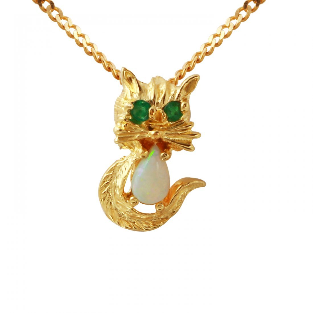 Ladies 0.19CTW Opal And Emerald 14K Yellow Gold