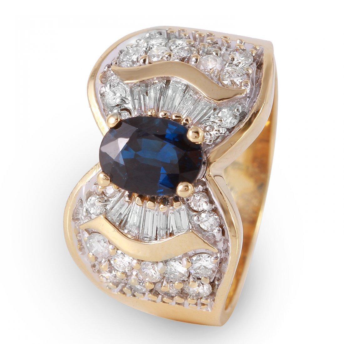 Ladies 1.7CTW Sapphire And Diamond 14K Yellow Gold Ring